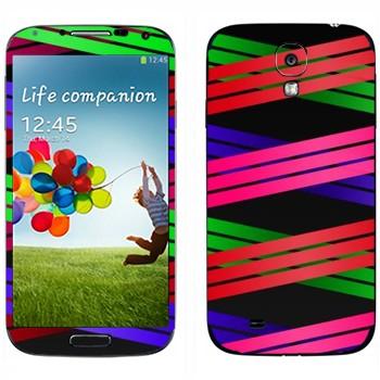 Виниловая наклейка «Плетение из цветных полос 1» на телефон Samsung Galaxy S4