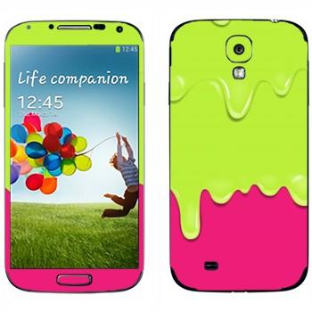 Виниловая наклейка «Потёки зелено-розовые» на телефон Samsung Galaxy S4