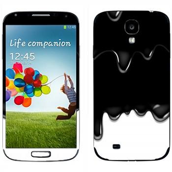 Виниловая наклейка «Потёки черно-белые» на телефон Samsung Galaxy S4