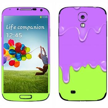 Виниловая наклейка «Потёки фиолетово-зеленые» на телефон Samsung Galaxy S4