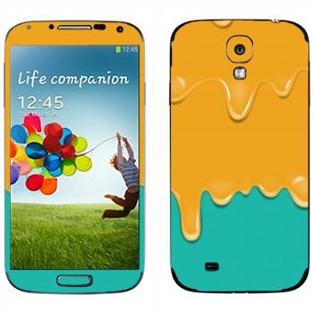 Виниловая наклейка «Потёки оранжево-бирюзовые» на телефон Samsung Galaxy S4