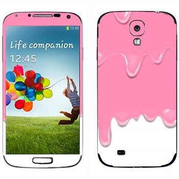 Виниловая наклейка «Потёки розовые-белые» на телефон Samsung Galaxy S4