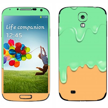 Виниловая наклейка «Потёки зелено-оранжевые» на телефон Samsung Galaxy S4