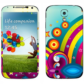 Виниловая наклейка «Радуга и цветная фантазия» на телефон Samsung Galaxy S4