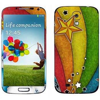 Виниловая наклейка «Радуга и звезды» на телефон Samsung Galaxy S4