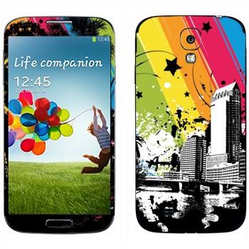 Виниловая наклейка «Радуга над городом» на телефон Samsung Galaxy S4