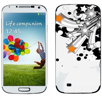 Виниловая наклейка «Разлетающиеся звезды» на телефон Samsung Galaxy S4