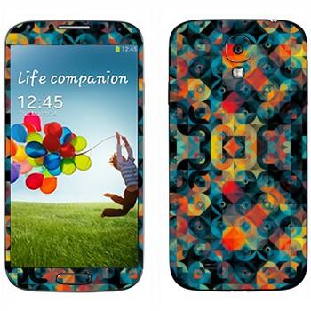 Виниловая наклейка «Разноцветные круги и ромбы» на телефон Samsung Galaxy S4