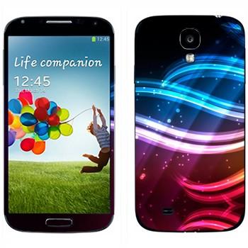 Виниловая наклейка «Разноцветные волны света» на телефон Samsung Galaxy S4