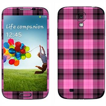 Виниловая наклейка «Розово-фиолетовая клетка» на телефон Samsung Galaxy S4