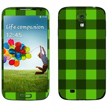 Виниловая наклейка «Салатовые и зеленые клеточки» на телефон Samsung Galaxy S4