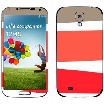 Виниловая наклейка «Серая, розовая, красная полосы» на телефон Samsung Galaxy S4