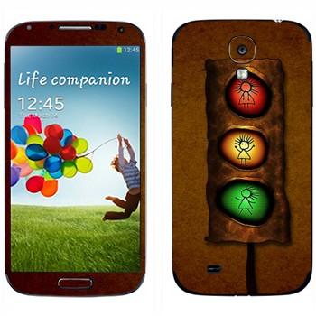 Виниловая наклейка «Светофор с человечком» на телефон Samsung Galaxy S4