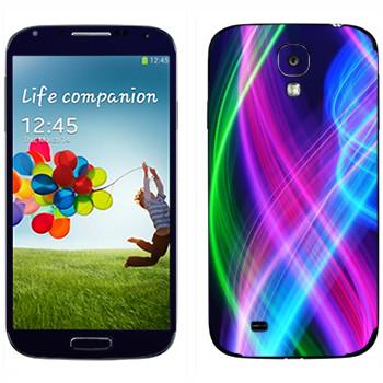 Виниловая наклейка «Волны неона» на телефон Samsung Galaxy S4