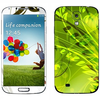 Виниловая наклейка «Зеленые растения» на телефон Samsung Galaxy S4
