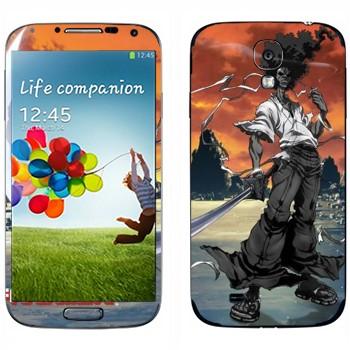 Виниловая наклейка «Афросамурай в полный рост» на телефон Samsung Galaxy S4