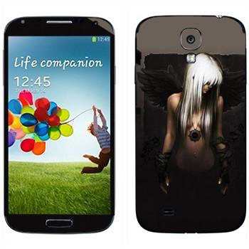 Виниловая наклейка «Блондинка с черными крыльями» на телефон Samsung Galaxy S4