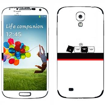 Виниловая наклейка «Черные и белые - Kawaii» на телефон Samsung Galaxy S4