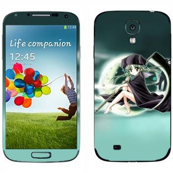 Виниловая наклейка «Девочка на фоне Луны» на телефон Samsung Galaxy S4
