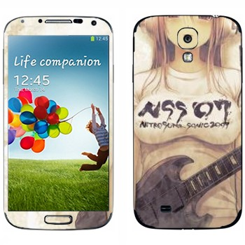 Виниловая наклейка «Девушка аниме с гитарой» на телефон Samsung Galaxy S4