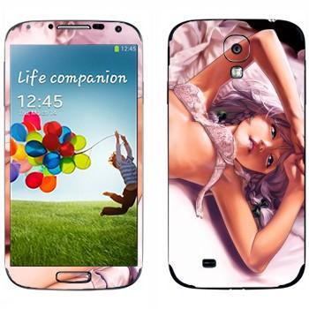 Виниловая наклейка «Девушка аниме в нижнем белье на кровати» на телефон Samsung Galaxy S4