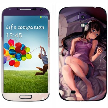 Виниловая наклейка «Девушка с iPod - K-on» на телефон Samsung Galaxy S4