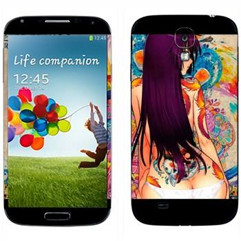 Виниловая наклейка «Девушка в цветных рисунках» на телефон Samsung Galaxy S4