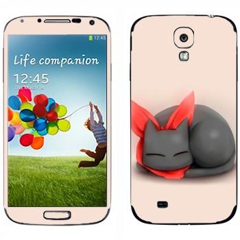 Виниловая наклейка «Кавайный спящий кот» на телефон Samsung Galaxy S4