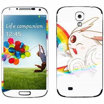 Виниловая наклейка «Кролик на радуге - Kawaii» на телефон Samsung Galaxy S4