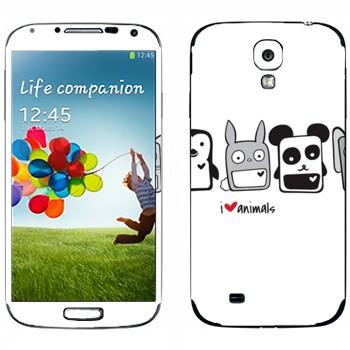 Виниловая наклейка «Квадратные зверята - Kawaii» на телефон Samsung Galaxy S4