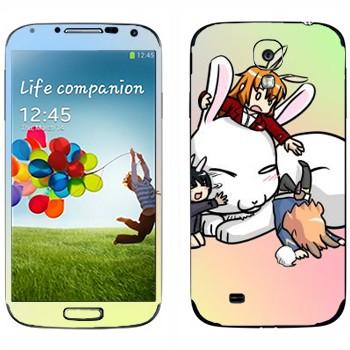 Виниловая наклейка «Милый белый кролик» на телефон Samsung Galaxy S4