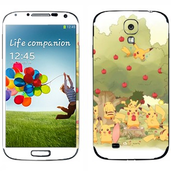 Виниловая наклейка «Много Пикачу в саду у яблони» на телефон Samsung Galaxy S4