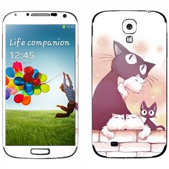 Виниловая наклейка «Неко-кошка и котята» на телефон Samsung Galaxy S4