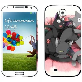 Виниловая наклейка «Нэконяшные коты» на телефон Samsung Galaxy S4
