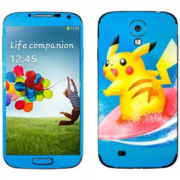 Виниловая наклейка «Пикачу-серфер» на телефон Samsung Galaxy S4