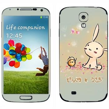 Виниловая наклейка «Розовый кролик и желудь» на телефон Samsung Galaxy S4