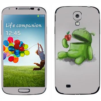 Виниловая наклейка «Android ест яблоко» на телефон Samsung Galaxy S4