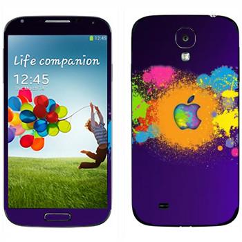 Виниловая наклейка «Apple пятна краски» на телефон Samsung Galaxy S4