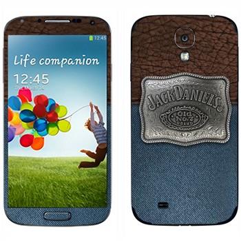 Виниловая наклейка «Jack Daniels эмблема на джинсе и коже» на телефон Samsung Galaxy S4