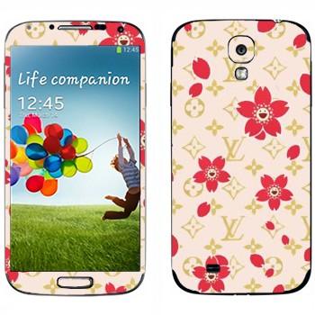 Виниловая наклейка «Louis Vuitton цветы» на телефон Samsung Galaxy S4