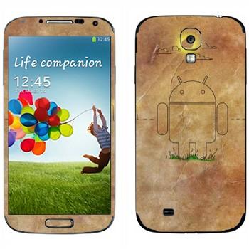 Виниловая наклейка «Эмблема Андроид на бумаге» на телефон Samsung Galaxy S4