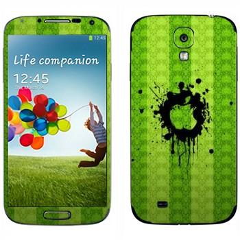 Виниловая наклейка «Лого Apple на зеленой стене» на телефон Samsung Galaxy S4