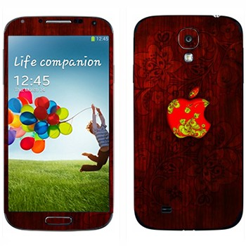 Виниловая наклейка «Логотип Apple хохломой» на телефон Samsung Galaxy S4