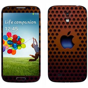 Виниловая наклейка «Логотип Apple на коричневой сетке» на телефон Samsung Galaxy S4