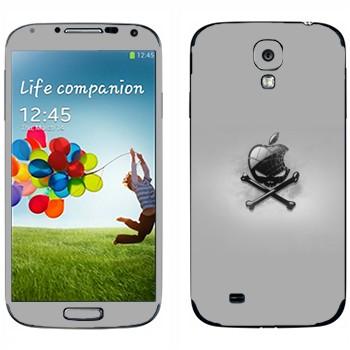 Виниловая наклейка «Логотип Apple в виде черепа с костями» на телефон Samsung Galaxy S4