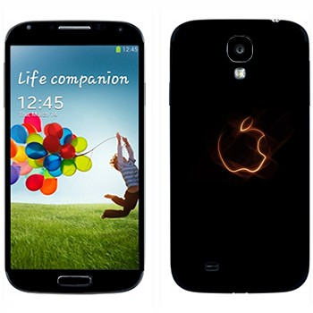 Виниловая наклейка «Неоновый логотип Apple» на телефон Samsung Galaxy S4