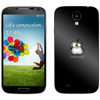 Виниловая наклейка «Пингвин Linux как логотип Apple» на телефон Samsung Galaxy S4