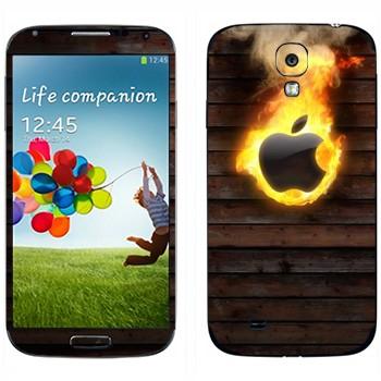 Виниловая наклейка «Пылающий логотип Apple» на телефон Samsung Galaxy S4