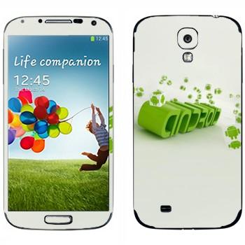 Виниловая наклейка «Зеленая надпись Android» на телефон Samsung Galaxy S4