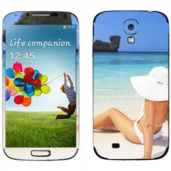 Виниловая наклейка «Девушка на пляже Майами» на телефон Samsung Galaxy S4